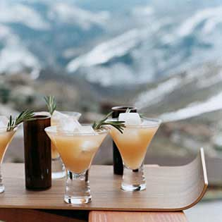 cocktails on a mountain overlook
