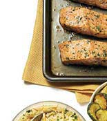 roasted salmon and zucchini couscous