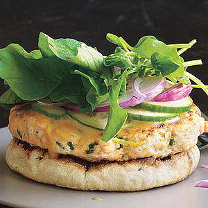 open face salmon burgers