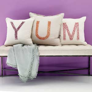 Pillows that spell YUM