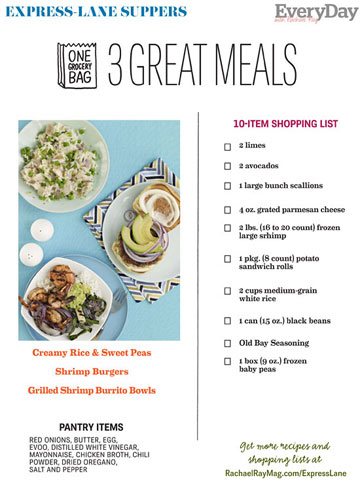 Express Lane Meals, 10-ingredient Shopping List