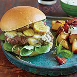 Garlic-Sherry Burgers with Stilton & Pub Browns with Horseradish Sauce