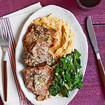 Lemony Lamb Chops with Chickpea Puree