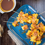 Pineapple Skewers with Coconut-Caramel Sauce