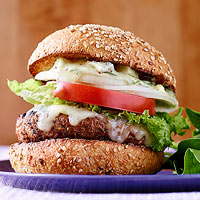 Spicy Cheddar Burgers with Chunky Blue Cheese Aioli