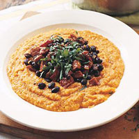 Vegetarian Pumpkin Polenta with Spinach and White Beans
