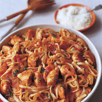 Chicken, Peppers and Onion with Linguine