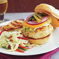 Lemon-Poppy Burgers with Napa Slaw and Potatoes