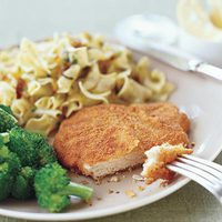 Pork Schnitzel with Caramelized-Onion Egg Noodles