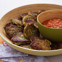 Zucchini Fritters with Roasted Red Pepper Dip