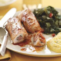 Turkey Saltimbocca with Honey Polenta and Kale