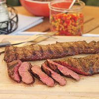 Grilled Skirt Steak with Corn Salsa and Black Beans