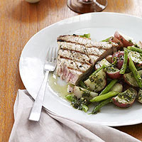 Grilled Tuna Steaks with Potato and Green Bean Salad