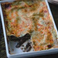 Portobello Lasagna with Basil Cream