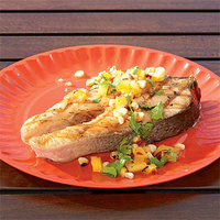 Salmon Steak with Grilled Pineapple and Corn