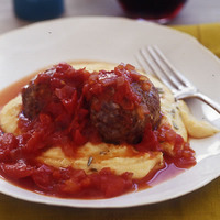 Roasted Lamb Meatballs with Red Sauce and Polenta