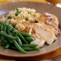 Chicken with Apple Gravy, Rice Pilaf and Green Beans