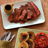Grilled Steak with Tomatoes and Onions