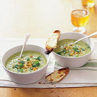 Corn Avocado Soup with Cheesy Toasts