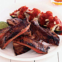 Sweet-Tart Ribs and Potato-Zucchini Boats