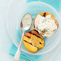 Ginger-Peach Ice Cream in Grilled Peach Cups
