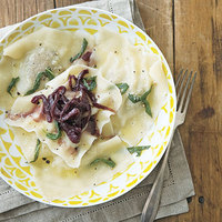 Chicken Liver Ravioli with Red Onion Marmalade