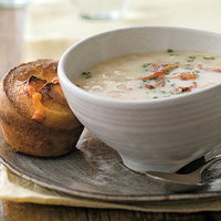 Onion Chowder with Cheesy Onion Popovers