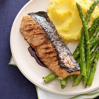 Grilled Salmon and Asparagus with Balsamic Butter