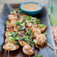 Peach-Jam-Glazed Shrimp with Spicy Peanut Butter Dip