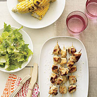 Chicken Caesar Kebabs with Grilled Corn