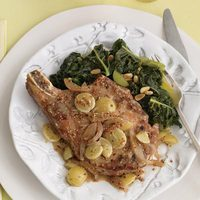 Pork Chops with Onion-Grape Sauce and Kale