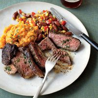 Coffee-Rubbed Steaks with Sweet Potatoes and Succotash
