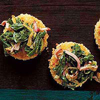Quinoa Cakes with Ham, Onion and Chard