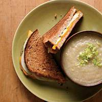 Grilled Cheddar-Apple Sandwiches with Creamy Parsnip Soup