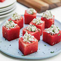 Watermelon Cups with Feta and Mint