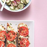 Open-Face Grilled Cheese Sandwiches with Pickled Red Onions and Cucumbers