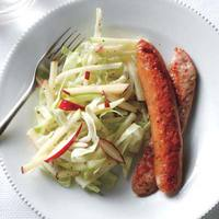 Chicken Sausages with Cabbage-Apple Slaw