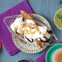 Bananas Foster Split with Bourbon Whipped Cream