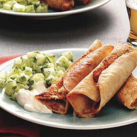 Bean Taquitos with Cucumber Salsa
