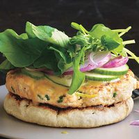 Open-Face Salmon Burgers with Honey Mustard