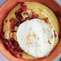 Sausage-and-Shrimp Hash with Grits and Eggs