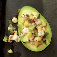 Pineapple-Hominy-Stuffed Avocados