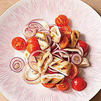 Grilled Calamari with Tomatoes and Onion
