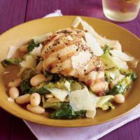 Grilled Chicken Thighs on a Bed of Beans and Greens