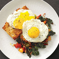 Swiss Chard with Bacon and Eggs