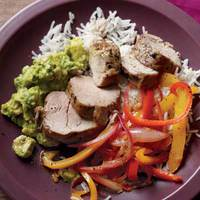 Pork Tenderloin with Bell Peppers and Avocado Mash