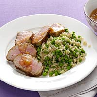 Mango Pork with Minty Brown Rice & Peas