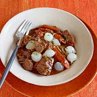 Braised Beef with Carrots & Pickled Onions