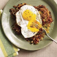 Pastrami-Veggie Hash with Fried Eggs