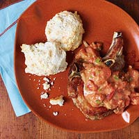 Pork Chops or Chicken with Biscuits & Tomato Gravy